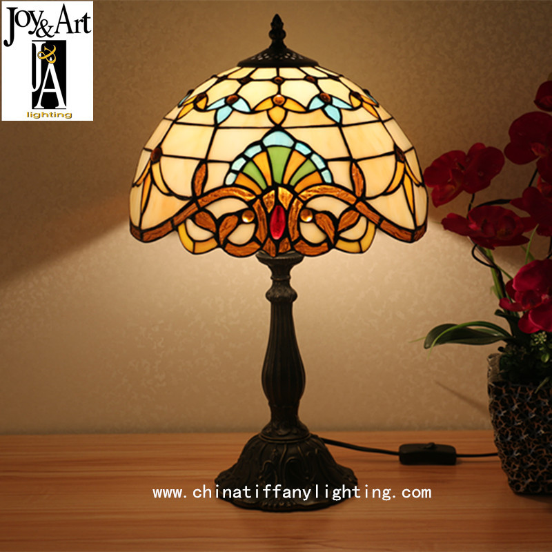 TUDA30X46cm Free Shipping Baroque Design Stained Glass Lampshade Table Lamp Tiffany Style Table Lamp  for Bedroom Table Lamp E27
