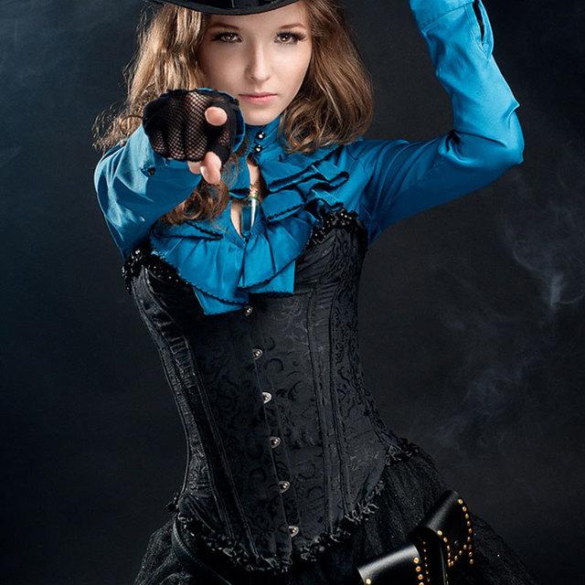 Agente Provocador Corzzet Jacquard Negro Deshuesado Acero Steampunk Corpetes E Espartilhos Corsés Y Bustiers Cintura que adelgaza