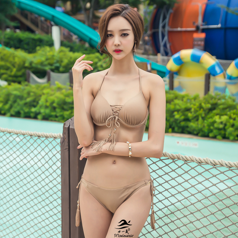 3 Pieces Solid Braided Rope Sexy Women Bikini Swimwear 4