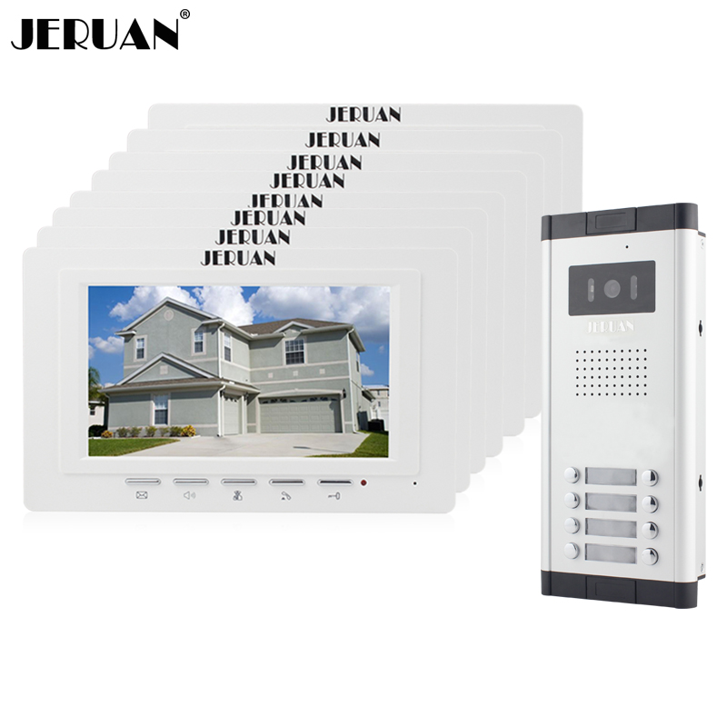 JERUAN Apartment Doorbell intercom 7 inch video door phone intercom system 8 Monitor 700TVL IR Night Vision Camera for 8 house hot selling portable woman infrared mammary diagnostic for women self inspection