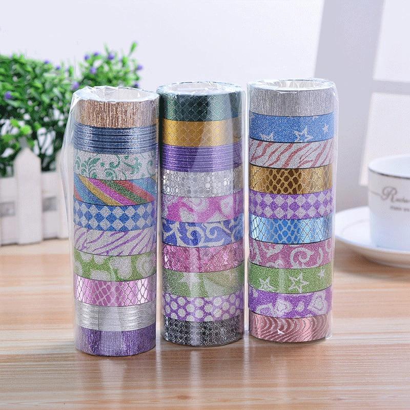 10 Pcs/set Glitter Color Washi Tape Set Japanese Stationery Scrapbooking Decorative Tapes Adhesive Tape Kawai Adesiva Decorativa