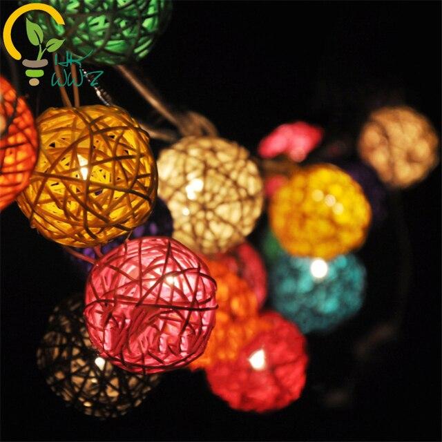 Diy Rattan Hemp Ball Lamp String Hanging Lamp Bar Living Room