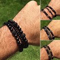 (10pcs)Men's 6MM Black Matte Agate Four Color Stainless Steel Zircon Disco Ball Beaded Stretch Bracelet  Bangle for Women Men