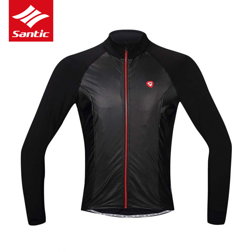 Santic Cycling Jacket Men Autumn Winter MTB Road Bike Jersey Coat Windproof Warmer Fleece Clothing Bicycle Jacket Ropa Ciclismo