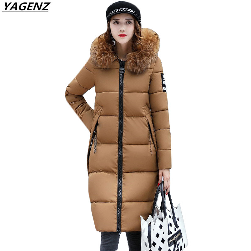 Winter Jacket Female Parkas Hooded Fur Collar Long Down Cotton Jacket Thicken Warm Cotton-padded Women Coat Plus Size 3XL K450 wmwmnu women winter long parkas hooded slim jacket fashion women warm fur collar coat cotton padded female overcoat plus size