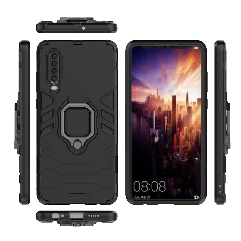 Huawei P30 Case Huawei P30 Back Cover TPU PC Magnetic Phone Case Cover Huawei P30 Finger Ring Case Capa Funda in Fitted Cases from Cellphones Telecommunications