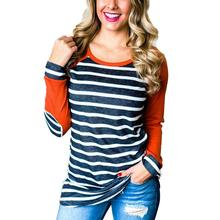 Fashion Women Striped Elbow Patch Baseball T-Shirt 2017 Autumn Tops O-Neck Full Long Raglan Sleeve Casual Female Girls Tees