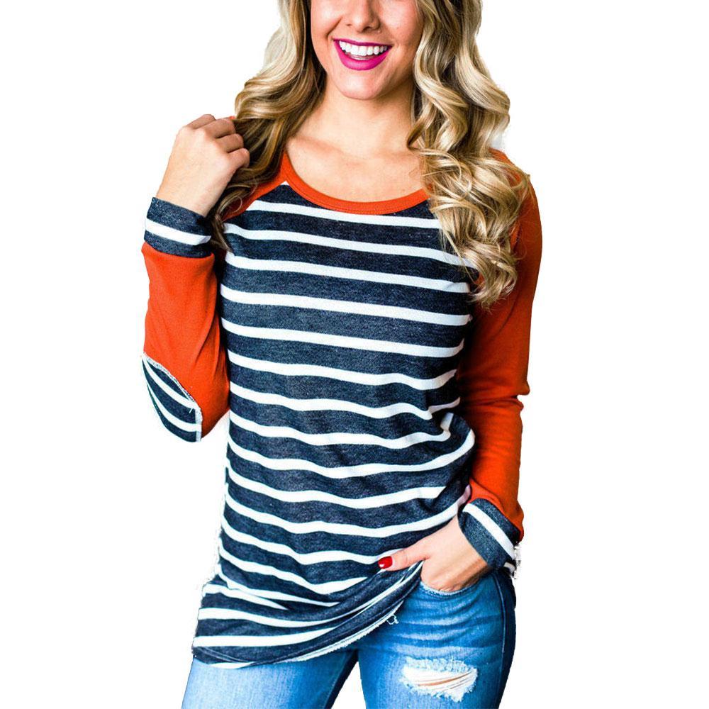 Fashion Women Striped Elbow Patch Baseball T Shirt 2018 Autumn Tops O Neck Full Long Raglan