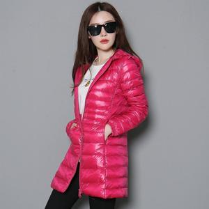 Image 1 - Mujer otoño Chaqueta larga acolchada con capucha pato blanco abajo mujer sobretodo Ultra ligero Delgado sólido chaquetas abrigo Parkas portátiles