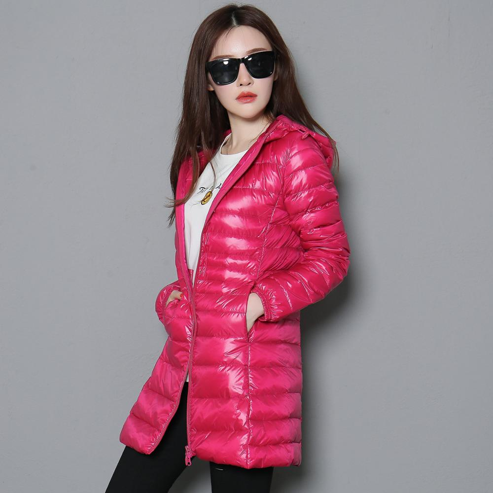 Woman Autumn Padded Hooded Long Jacket White Duck Down Female Overcoat Ultra Light Slim Solid Jackets Coat Portable Parkas