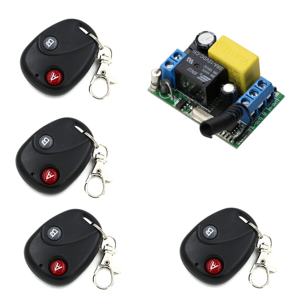 AC 220 V 1 CH Wireless Remote Control Switch System 4X Transmitter with 2 buttons+1 X Receiver Light Lamp LedON OFF 315/433Mhz ac 220 v 1 ch wireless remote control switch system 4x transmitter with 2 buttons 1 x receiver light lamp ledon off 315 433mhz