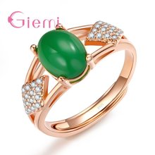 GIEMI 2018 New Arrival Anniversary Gift For Women Shiny Cubic Zirconia Big Green Stone Square Shape Crystal Elegant Ceremony Wea(China)