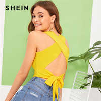 SHEIN Sexy Bright Ginger Criss-cross Tie Back Crop Tank Top Women 2019 Summer Casual Backless Basics Stretchy Slim Fitted Vests