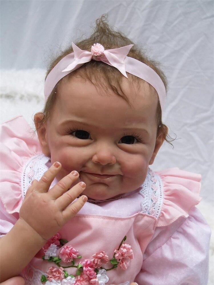 Nieuwe grondstoffen 55 cm siliconen reborn babypoppen