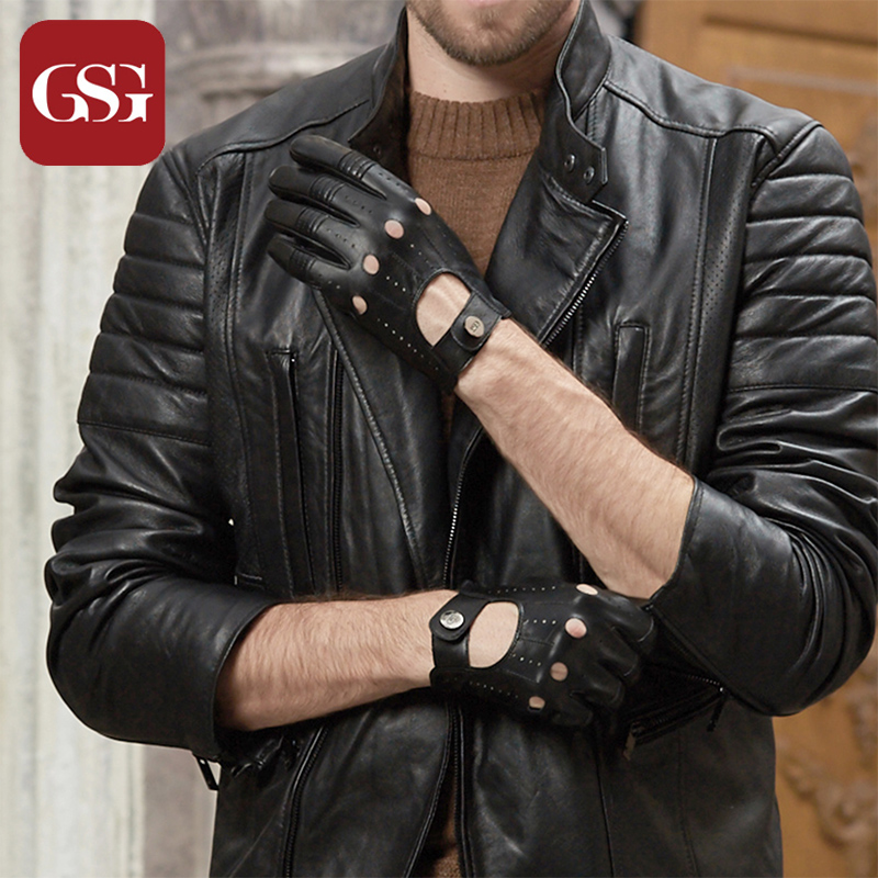 GSG Mens Leather Gloves Mittens Hole Button Breathable Goat Genuine Leather Men Driving Gloves Half Finger Gloves(China)