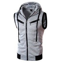 2017 New Arrival CosMaMa brand clothing fashion mens hooded summer cotton biker sleeveless casual jacket slim fit front zip
