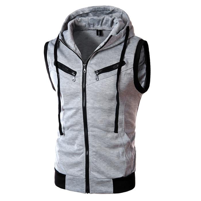 2017 New Arrival CosMaMa roupas de marca de moda mens com capuz de algodão verão biker sem mangas jaqueta casual slim fit frente zip