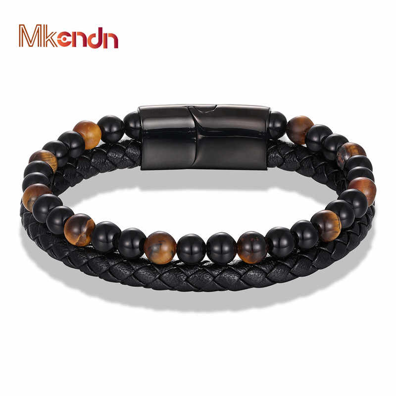 MKENDN New 6MM Tiger Eyes Stone Bracelets Handmade Woven Multilayer Leather Bracelets Magnetic Buckle Bangle Male Jewelry