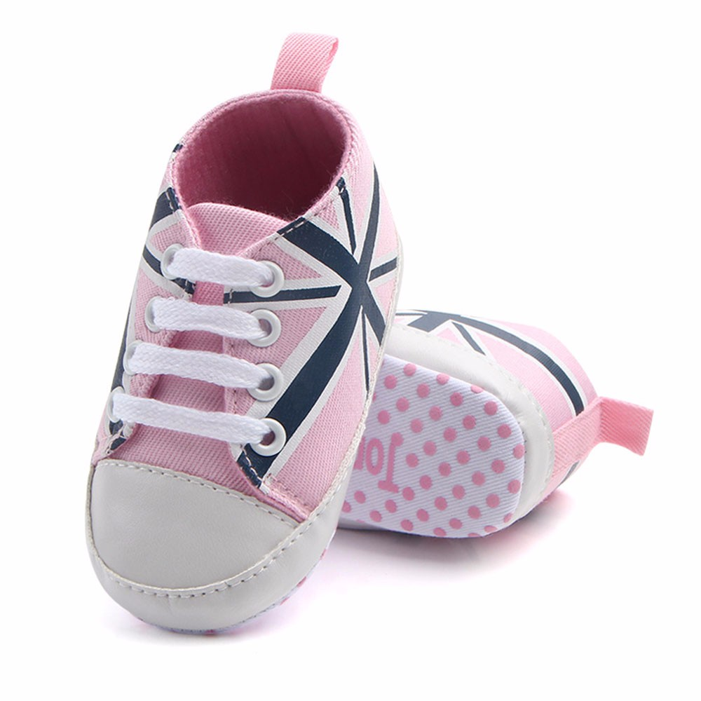 Newborn Baby Shoes Infant Baby Union Jack Flag Print Canvas Anti-slip Soft Shoes Sneaker Spor Ayakkabı1.769
