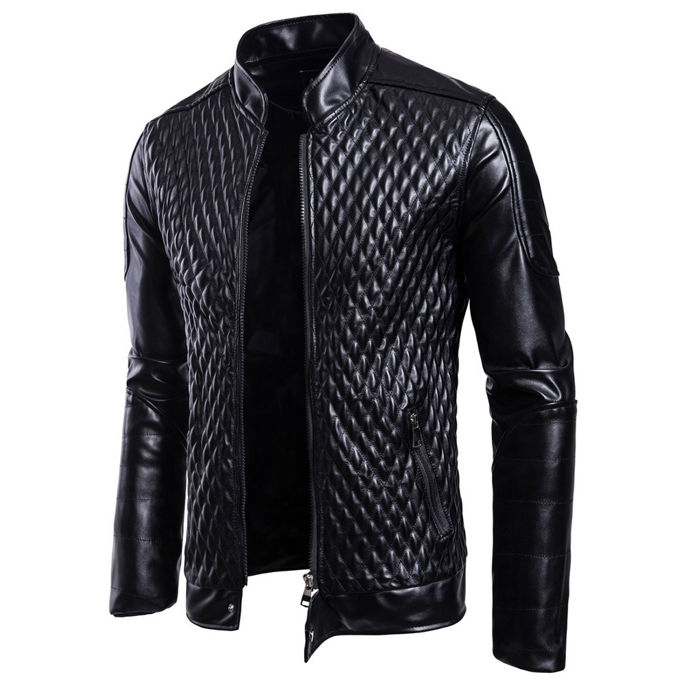 Plusee Gothic Black Plus Size Faux leather Jacket Office ...