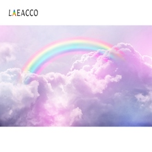 Laeacco Pink Rainbow Backdrops Cloud Sky Baby Birthday Party Portrait Poster Photographic Backgrounds Photocall Photo Studio