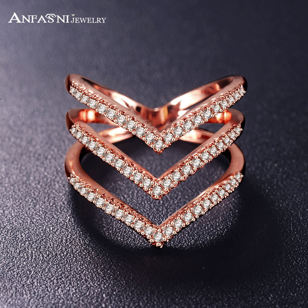 ANFASNI 2016 New Women Rings Rose Golden Color Micro Pave CZ Stone Three V Shape Ring Fashion Jewelry for Women CRI1034