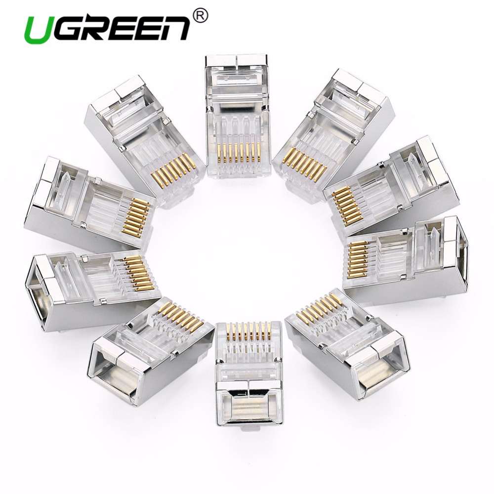 Ugreen Cat6 RJ45 Connector 8P8C Modular Ethernet Cable Head Plug Gold-plated Cat 6 Crimp Network RJ 45 Connector Cat6 imc hot 10 pcs rj45 8p8c double ports female plug telephone connector