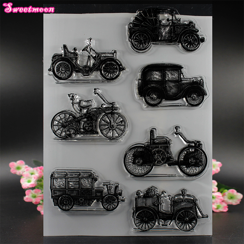 All kinds of vintage cars Scrapbook Clear Stamp photo cards account rubber stamp  Embossing Folder card Stamp цена