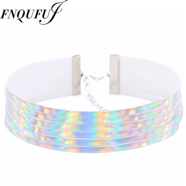 Multi layer holographic choker necklace women goth holo iridescent multi layer holographic choker necklace women goth holo iridescent chocker statement necklace 2017 punk jewelry mozeypictures Image collections