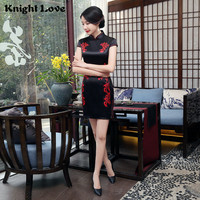 Black Red Chinese Dress Women Flower Short Sleeve Cheongsam Satin Qipao Sexy Mini Charming Chinese Traditional Dress China Style