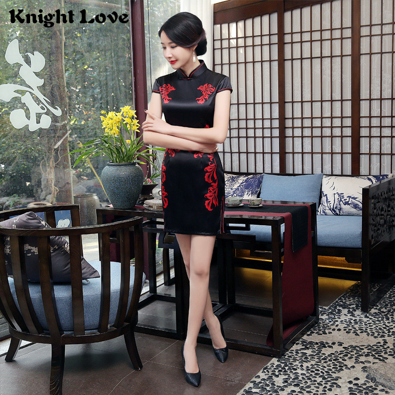 Black Red <font><b>Chinese</b></font> <font><b>Dress</b></font> Women Flower Short Sleeve Cheongsam Satin Qipao <font><b>Sexy</b></font> Mini Charming <font><b>Chinese</b></font> Traditional <font><b>Dress</b></font> China Style image
