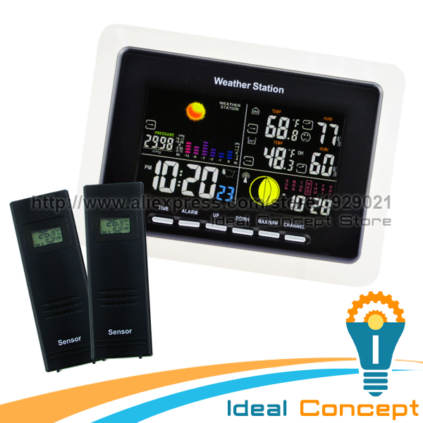 RCC WWVB DFC Weather Station Indoor Outdoor Humidity Temperature Forecast  Alarm Snooze + 2 Remote Sensors wireless sensor weather station rcc receiver 8 function keys 5 state weather forecast temperature humidity indicator