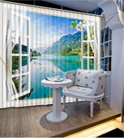 lake curtain 3D Window Curtain Dinosaur print Luxury Blackout For Living Room window curtains