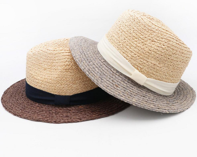 b330d61c70250 10pcs Brand Men Raffia Straw Fedora Hats 61cm Large Size Panama Hat Summer  Beach Sun Cap Women Nature Straw Fedoras Wholesale