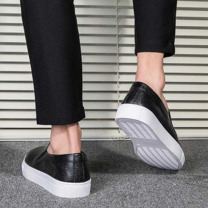 blanc Hommes Printemps Des Noir Sur De Casual Mocassins Blanc Cuir 2019 Tailles Chaussures Oudiniao Véritable Rond En Luxe Glissement Grandes Bout Y5BRwgq