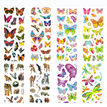 8 Sheets/set Wildlife Wild Animals Scrapbooking Bubble Puffy Tiger Lion butterfly Stickers Kids Toys Factory Direct Sales