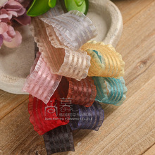 100yards 10/16/25/38mm satin stripes wrinkle edge organza sheer ribbon for garment skirt accessories hair bow diy