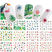 цены Nail Water Sticker 12Sheets/Pack Summer Style Green Leaves Cactus Nail Decals Water Transfer Nail Art Stickers 12PCS IN ONE