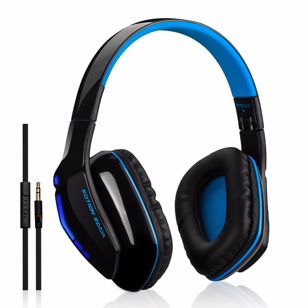 Over-Ear Stereo Sound Wireless Headphones,  Enhanced Bass Low Latency Bluetooth 4.1  headsets with In-line Cable for Phone