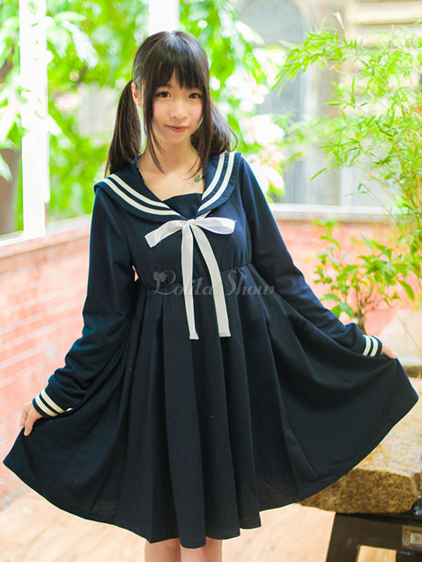Free Shipping High-waisted Lolita Sailor Dress Girls School Uniform Anime Cosplay Costume