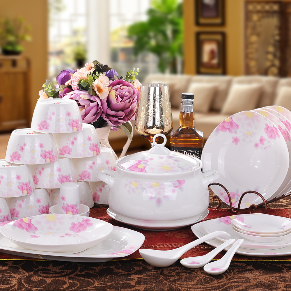 christmas Jingdezhen 56 pieces bone china tableware ceramics set bowl dish  for microwave wedding gift