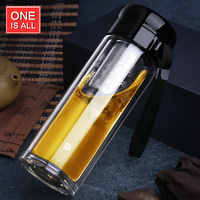 Uno de ellos Es Todo GYBL216 350 ml Doble Capa De Vidrio Taza Portátil Té de Infusión de Acero inoxidable de Negocios Oficina Botella Hogar Filtro de Té arriba