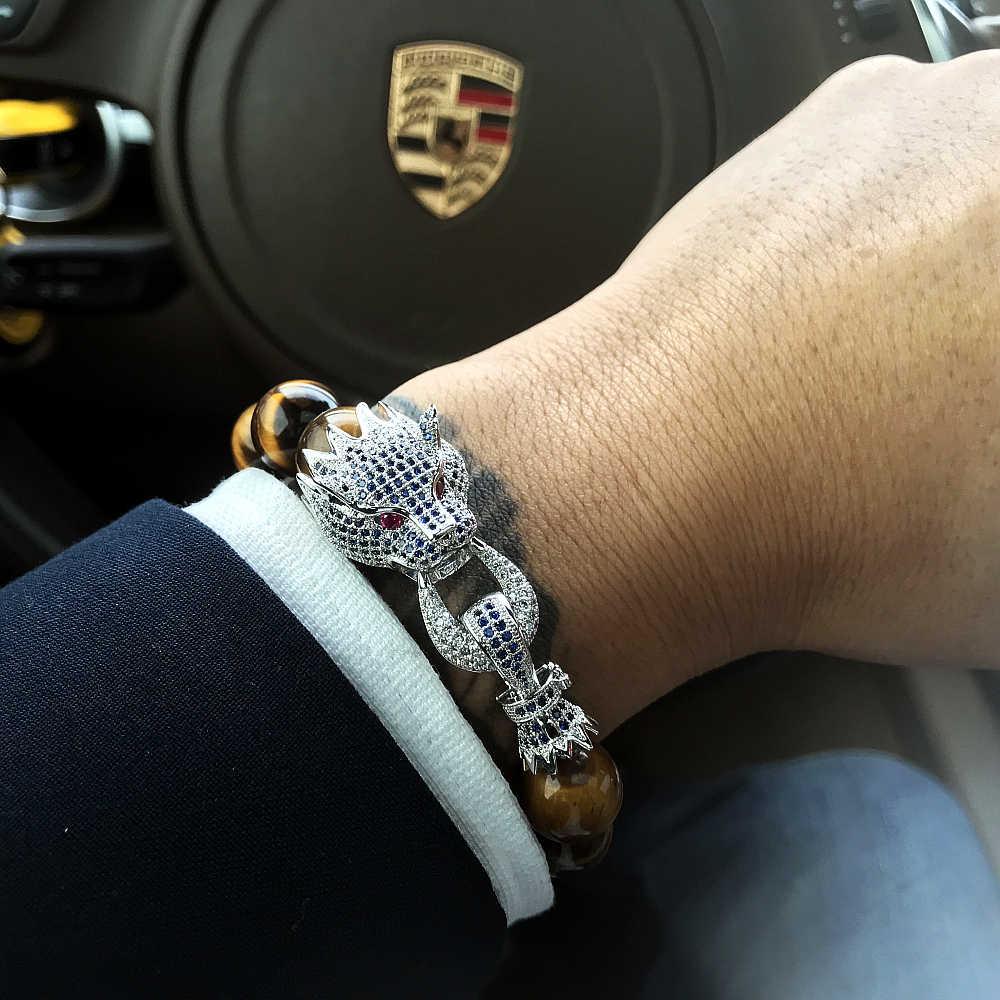 Mcllroy pulseira homem/pedra/grânulo/luxo/pulseira homme moda dragão cz zricon artesanal homem jóias presente pulseira masculina