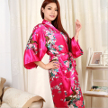 2016 New Silk Kimono Robe Bathrobe Women Red Silk Bridesmaid Robes Sexy Navy Blue Robes Satin Robe Long Ladies Dressing Gowns