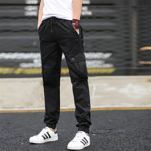 79ead924a Men's Joggers Camouflage Trousers Beam Foot Slacks Elastic Draw String  Drawstring Military Cargo Male Pants