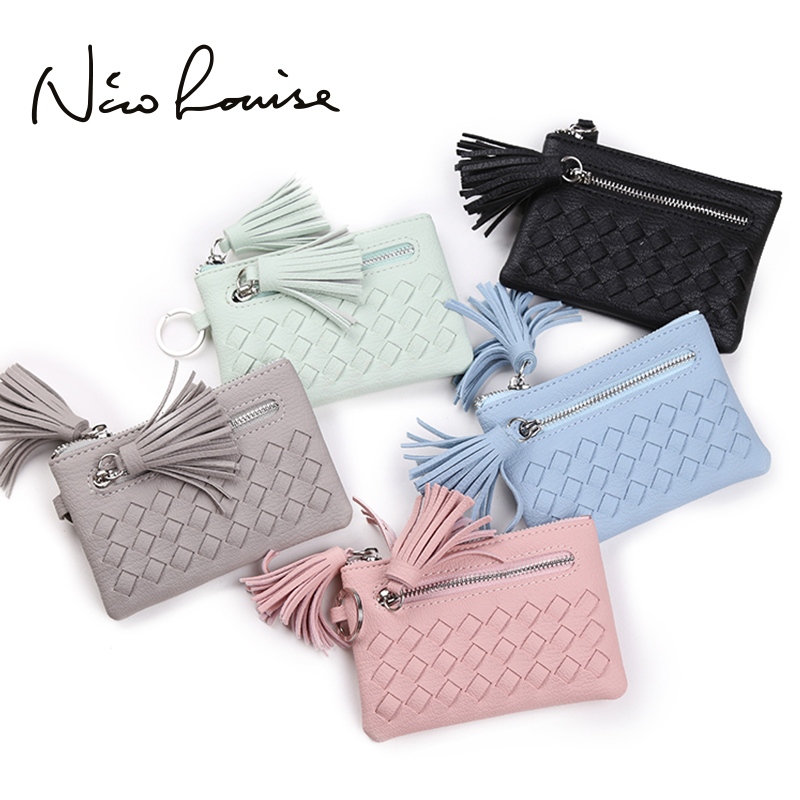Lovely Tassel Weave Leather Women Mini Wallet Girls Zipper Change Pouch Key Ring Small Purse Money Card Coin Purses Holders Pink