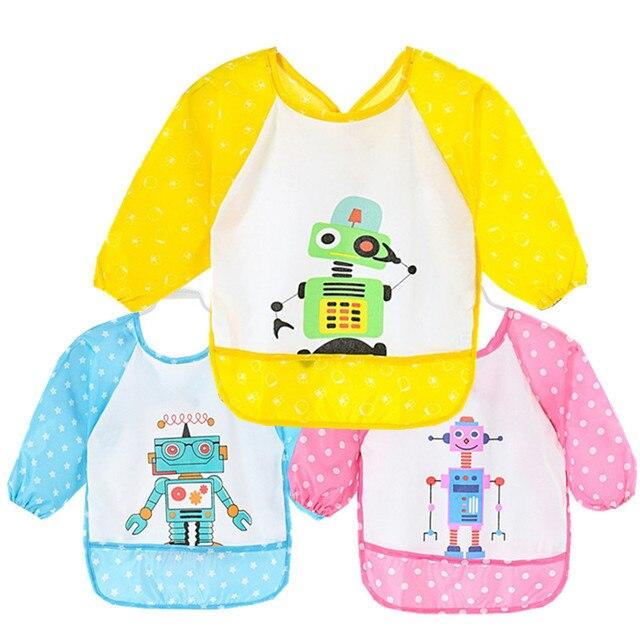 1 Pcs Baby Long Sleeve Bib Toddler Bibs Waterproof Boys Girls Apron Smock Bib Burp Cloths Child Feeding Eating Smock