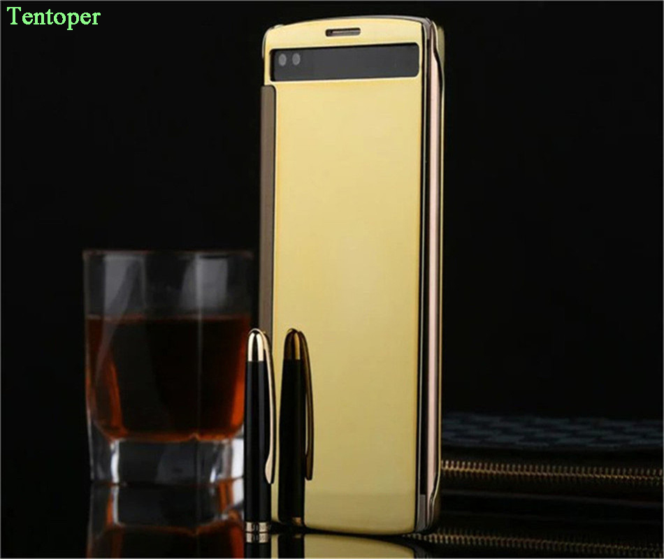 For LG V10 Case H968 F600k Luxury Gold Plating Mirror Flip Case LG V10 H900 H901 Clear View Sensible Cover With Retailed Package