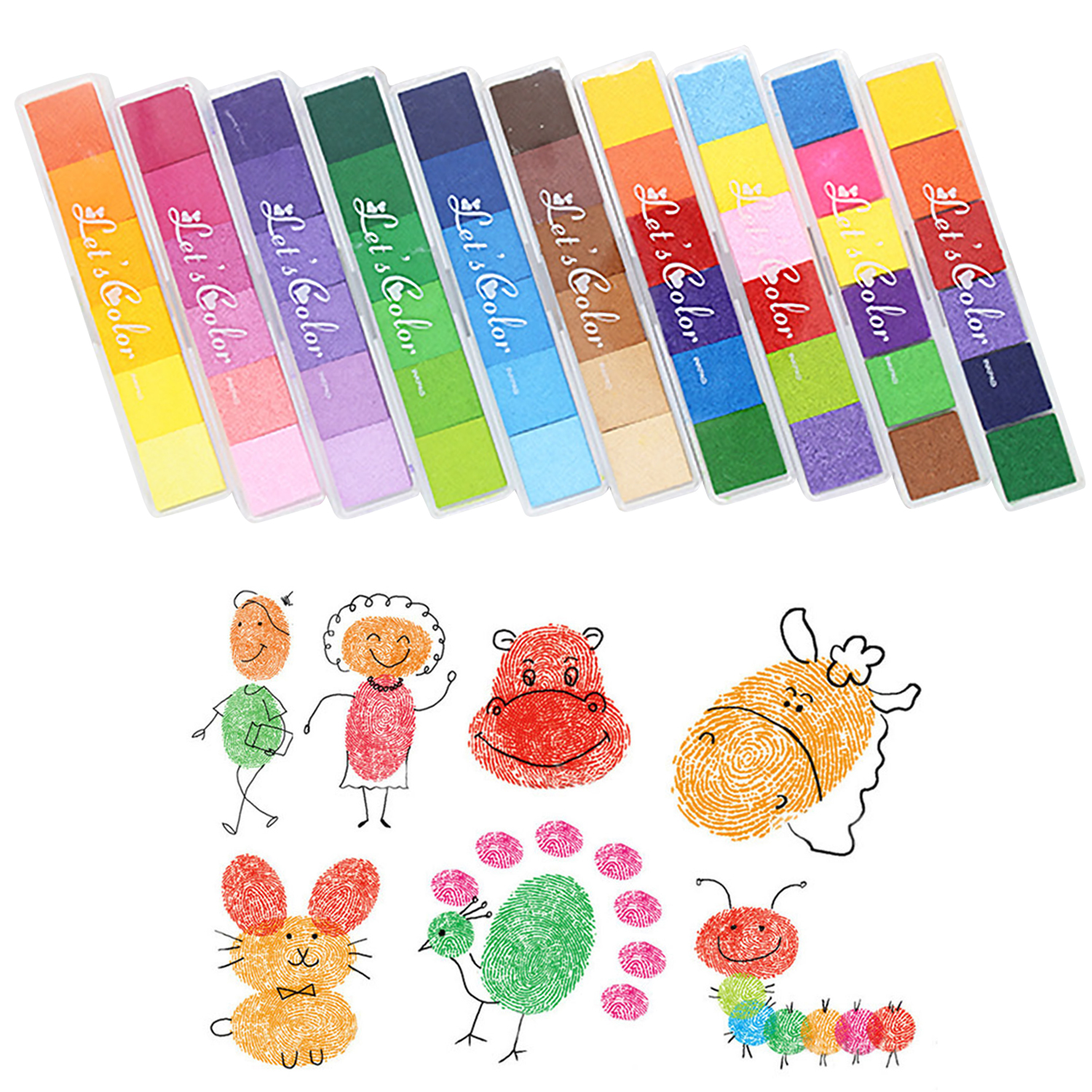 Kids Washable Finger Painting Inkpad 6pcs Gradient Colors+4PCS Colorful Graffiti Cushion Stamp DIY Fingerprinting Drawing Toy