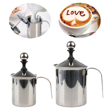 SKYMEN Stainless Steel Manual Milk Frother Double Mesh Coffee Cappuccino Foamer Creamer 400ML/800ML